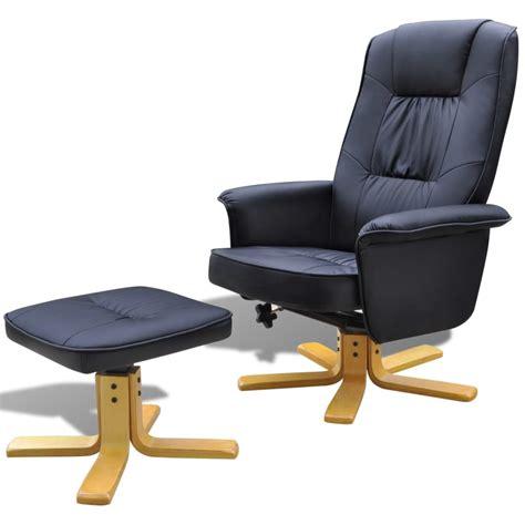 tv stoel kopen tv fauteuil kunstleer met voetenbankje zwart online kopen