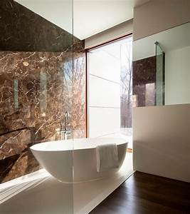 stand alone tub bathroom modern with brown wall dark wood With bathroom in the woods