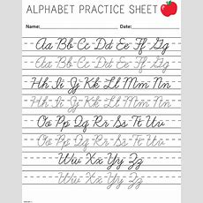 Cursive Writing Worksheets Printable Capital Letters #4  Little Learning  Cursive Writing