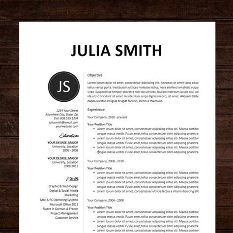 Typography Resume Template by Resume Cv Template Professional Resume Design For Word Mac Or Pc Free Cover Letter Creative