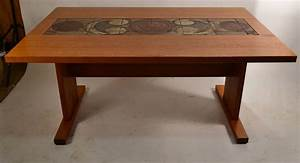 Extra Long Danish Ox Art, Drop-Leaf Dining Table with Tile