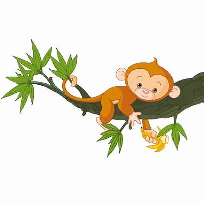 Monkey Tree Clip Funny Hanging Clipart Cartoon