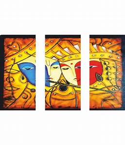 anweshas radha krishna art 3 frame split effect canvas With best brand of paint for kitchen cabinets with radha krishna wall art