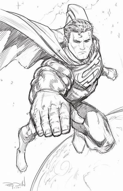 Superman Sketch Steel Coloring Drawing Pages Sketches
