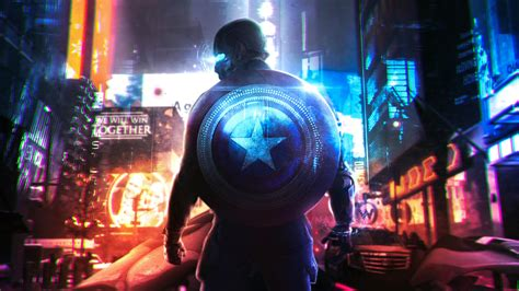 cyberpunk captain america fanart wallpaper id