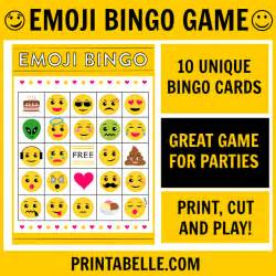 Emoji Free Printable Bingo Game