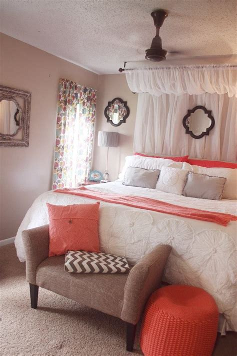 curtain canopy coral white comforter grey chevron bedroom home happy pinterest grey