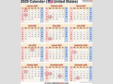 2029 Calendar for the USA, with US Federal Holidays