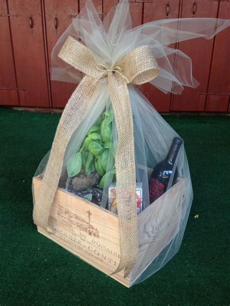 wine box wedding gift add  fresh herb plant cheese wine