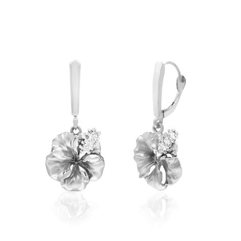 14k white gold hibiscus leverback earrings
