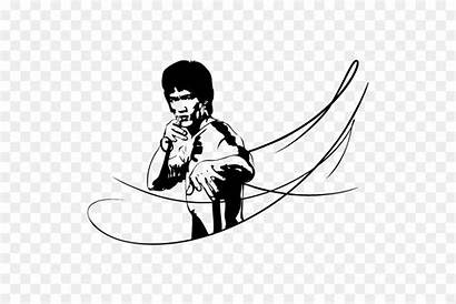 Bruce Lee Coloring Clipart Silhouette Clip Moon