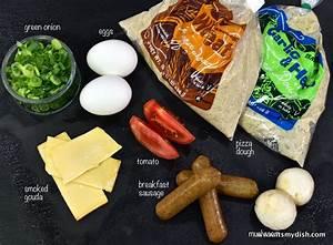 Chicken Sausage & Mushroom Breakfast Pizza - It's My Dish