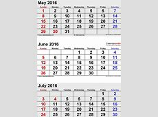 Calendar June 2016 Printable One Page Calendar Template 2019