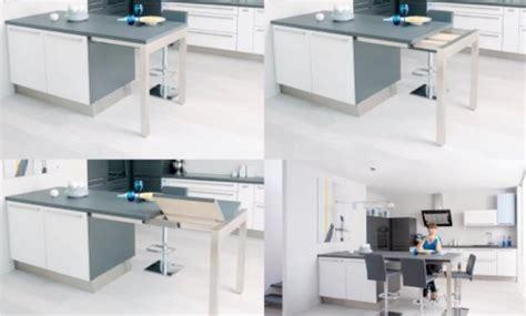 table de cuisine retractable décoration ilot central avec rangement et table