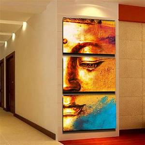 free shipping gold buddha oil painting wall art paintings With wall paintings for home decoration