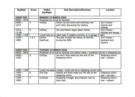 shooting schedule template shooting schedule template fee schedule template
