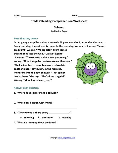printable reading comprehension worksheets for 2nd grade