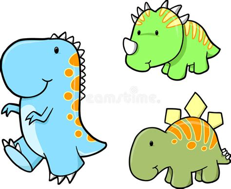 Baby Dinosaur Vector Set Stock Vector. Illustration Of