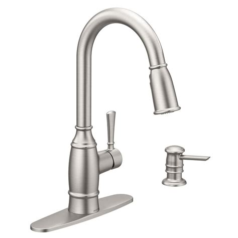 kitchen faucets with soap dispenser moen noell single handle pull sprayer kitchen faucet