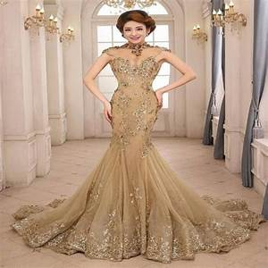 exquisite evening dress mermaid gowns luxury gold high With gold color wedding dress