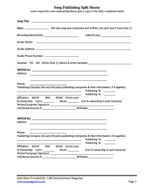 songwriting split sheetpdffillercom form fill out and