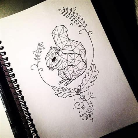 cute geometric squirrel  curly oak branch frame tattoo