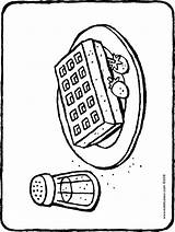 Waffle Gaufre Waffel Wafel Coloring Glace Coloriage Sucre Fraises Avec Kiddimalseite Kiddicolour Erdbeeren Puderzucker Waffeln Kleurplaat Aardbeien Bloemsuiker Dessin Tekening sketch template