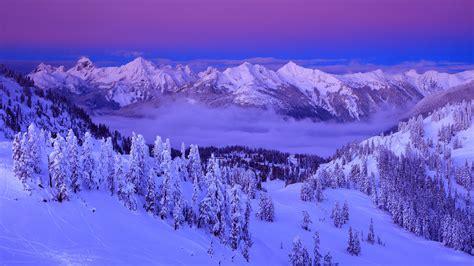 Purple, Clouds, Snow, Winter, Mountains, Trees, Sky