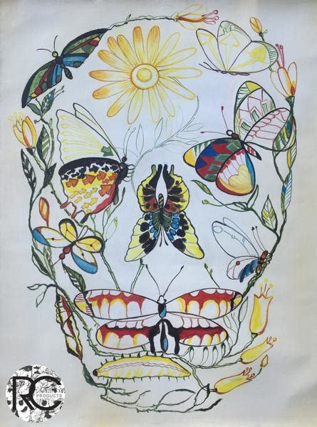 Skull Medium Canvas Abstract Butterfly Painting Wall