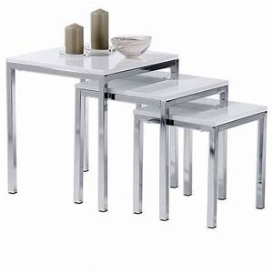 Table Salon Gigogne : lot de 3 tables gigognes luna chrom laqu blanc achat vente table basse lot de 3 tables ~ Dallasstarsshop.com Idées de Décoration