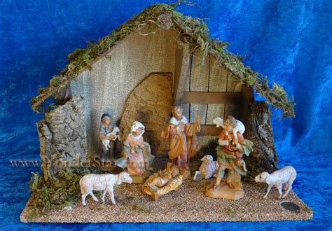 5 quot fontanini nativity scene 8 pc w 11 5 quot wooden stable 54483