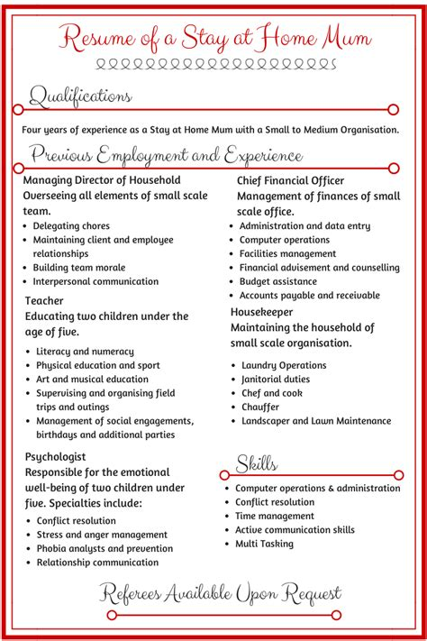 19230 stay at home resume template stay at home resume these are great resources for stay