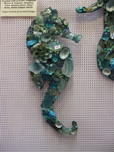 mosaic seahorses  mermaids shell designs