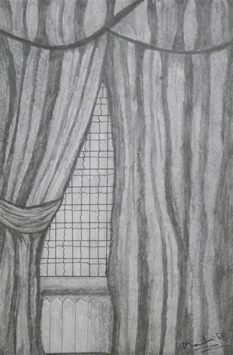 curtains in a5 drawing by martin blakeley