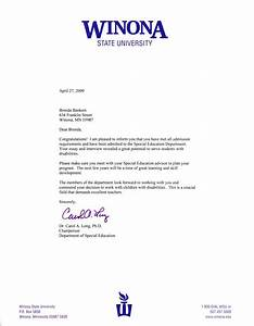 Acceptance Letter From Winona State University's Special Education Program Brenda Bankers's