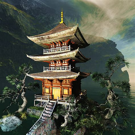 temple japanese buddhist zen mountains pagoda tattoo architecture japan samurai google portfolio tattoos landscape tatuagem works chinese ancient