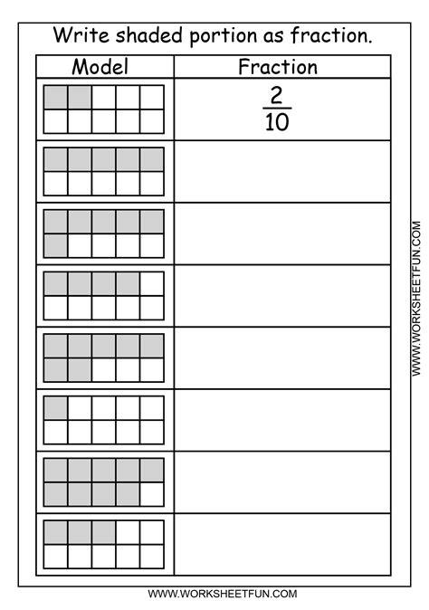 fraction model  worksheets  printable