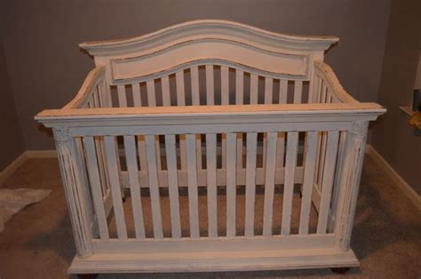 distressed white crib painted distressed crib with sloan s white chalk