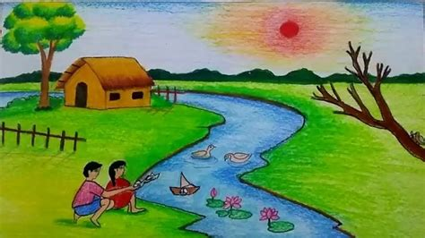 draw  natural village scenery step  step