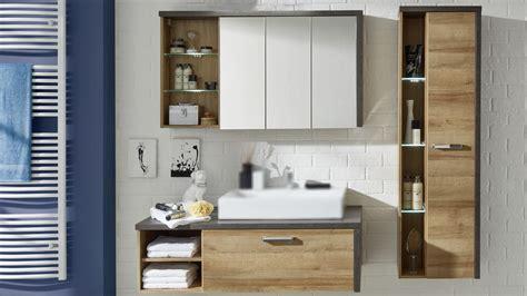 Badezimmer Spiegelschrank Eiche by Badezimmer Set 1 Bahia Eiche Riviera Honig Und Beton Dunkel