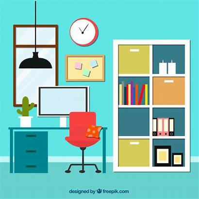 Office Vector Interior Bookcase Vectors Cartoon Background