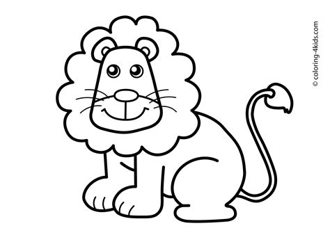 Lion Real Animals Coloring Pages For Kids Printable Free