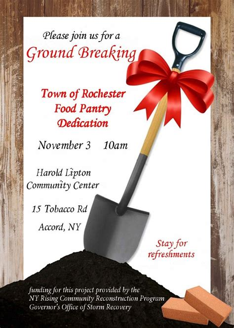 news invitation  food pantry groundbreaking town