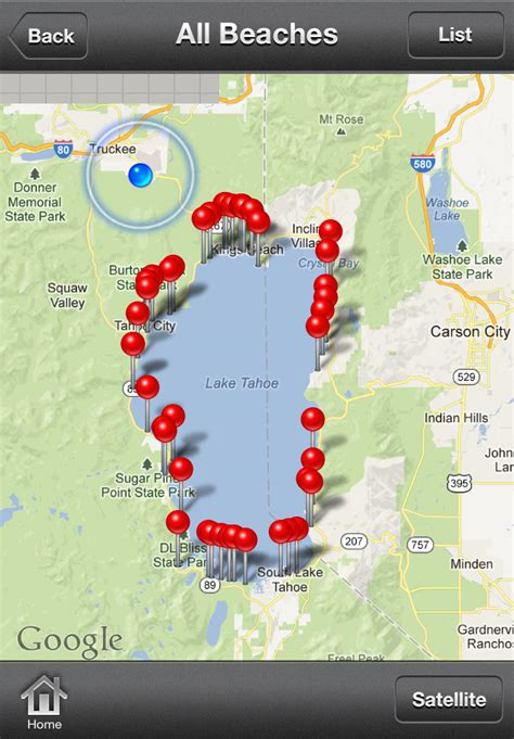 tahoe lake beaches shore north app map beach nevada iphone south west east tb