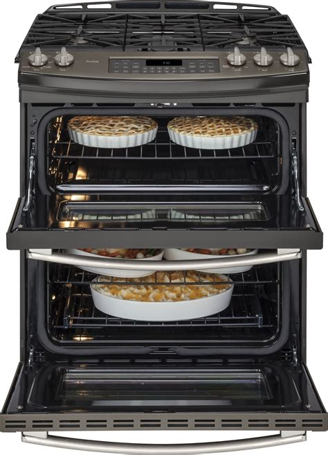 pgseefes ge profile series    front control double oven gas range slate