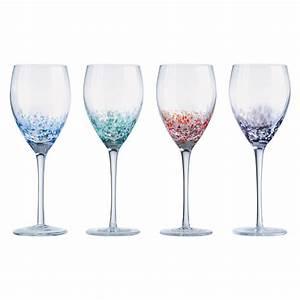 Set, Of, 4, Speckle, Wine, Glasses