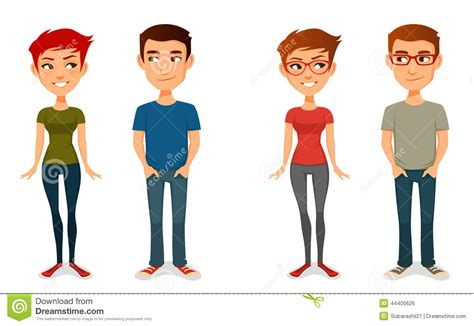 Cute Cartoon People In Casual Outfits Stock Vector