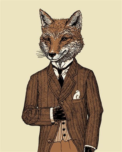 dapper fox print  animal art play space fox