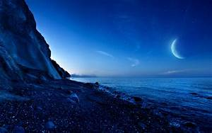 Nightfall Mountain Sea Moon HD Desktop Wallpaper