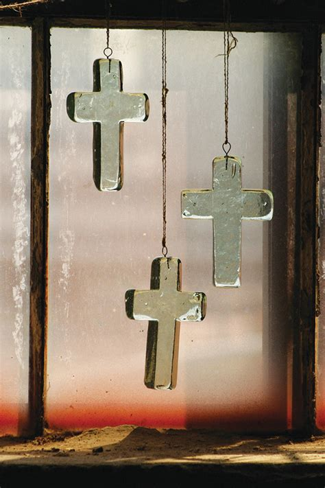 recycled hanging glass cross cross suncatcher glass